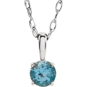 Children's Swiss Blue Topaz Birthstone 14k White Gold Pendant Necklace, 14""
