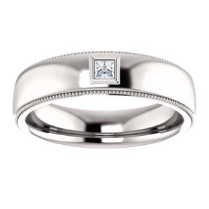 Men's Rhodium-Plated 14k White Gold Diamond 6mm Milgrain Band (.10 Ctw, Color G-H, SI2-SI3 Clarity) Size 10
