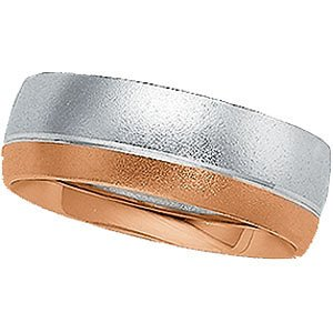 7mm 14k White and Rose Gold Sand Finish Band, Size 5.5, 7, 10.75, 13.5