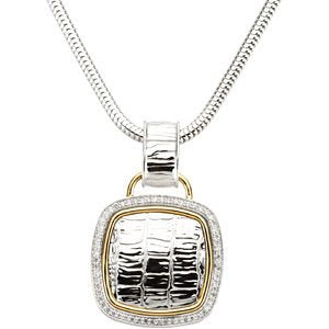 "62-Stone Diamond Two-Tone Square Pendant Necklace, 14k Yellow Gold and Sterling Silver, 18"" (1/3 Ctw)"