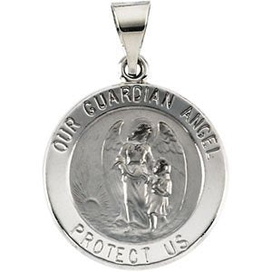 14k White Gold Hollow Round Guardian Angel Medal (18.25x18.50 MM)