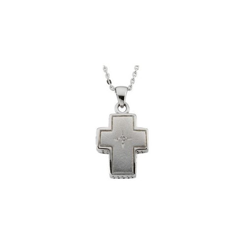 Diamond 'Reversible Prayer Locket' Rhodium Plate Sterling Silver Cross Necklace, 18""