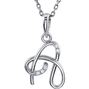 "5-Stone Diamond Letter 'A' Initial Sterling Silver Pendant Necklace, 18"" (.03 Cttw, GH, I2)"