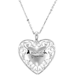 Sterling Silver Filigree Heart of a Grandmother Necklace 18""