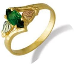 Created Emerald Marquise Bypass Ring, 10k Yellow Gold, 12k Green and Rose Gold Black Hills Gold Motif, Size 7