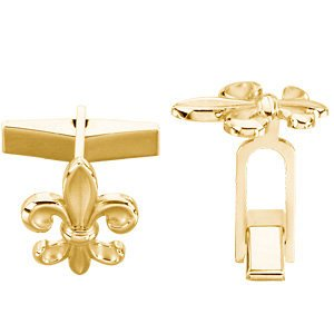 14k Yellow Gold Fleur-De-Lis Cuff Links, 18.5MM