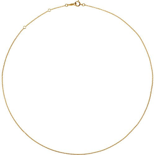 14k Yellow Gold Filled 1mm Solid Cable Chain Necklace, 18""