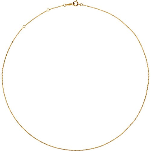 14k Yellow Gold Filled 1mm Solid Cable Chain Bracelet, 7""