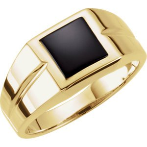 Men's Square Onyx 14k Yellow Gold Ring
