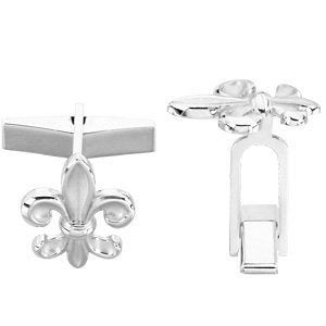 Sterling Silver Fleur-de-Lis Cuff Links, 18.5MM