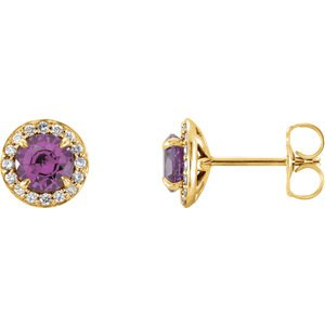 Amethyst and Diamond Halo-Style Earrings, 14k Yellow Gold (4.5 MM) (.16 Ctw, G-H Color, I1 Clarity)