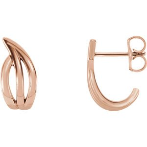 Freeform J-Hoop Earrings, 14k Rose Gold