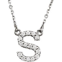 14k White Gold Diamond Initial Necklace, 16.25""