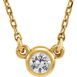 White Sapphire Solitaire 14k Yellow Gold Pendant Necklace, 16""