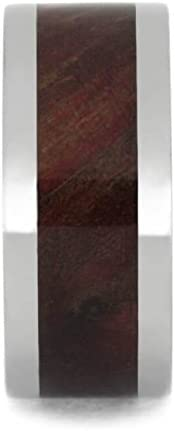 Ruby Redwood Burl 10mm Comfort-Fit Titanium Wedding Band, Size 4.5