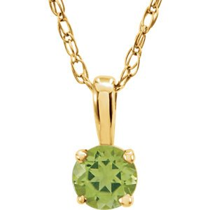 Children's Peridot Birthstone Pendant 14k Yellow Gold Necklace, 14""