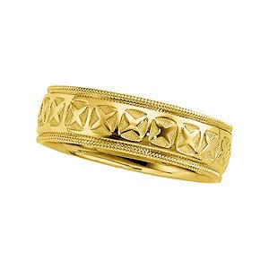 7.25mm 14k Yellow Gold Comfort Fit Milgrain Band, Sizes 5 to 12