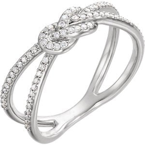 Diamond Knot Comfort-Fit Ring, Rhodium-Plated 14k White Gold (1/5 Ctw, Color G-H, Clarity I1 ), Size 7