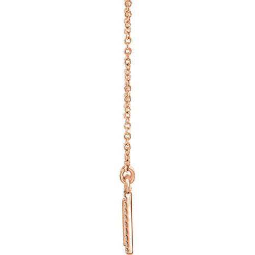 "Diamond Bar Engravable Necklace, 14k Rose Gold, 18"" ( 0.16 Ctw, G-H Color, I1 Clarity)"