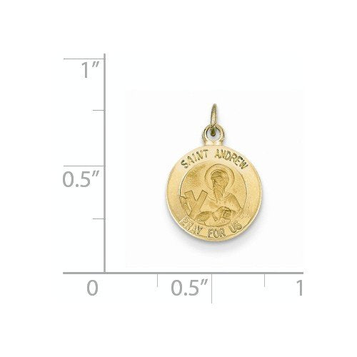 14k Yellow Gold St. Andrew Medal Charm (17X12MM)
