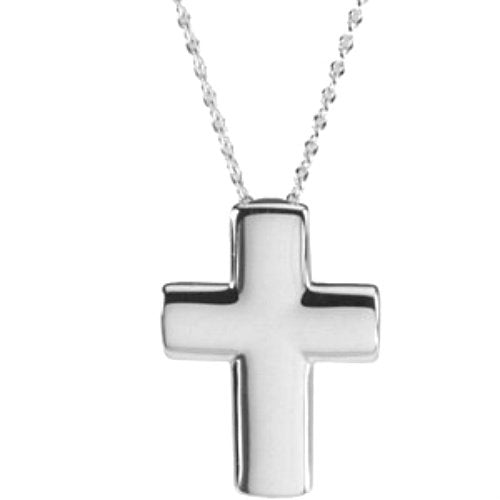 Sterling Silver Covenant of Prayer Unadorned Cross Necklace, 18""