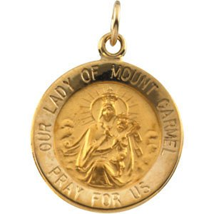 14k Yellow Gold Our Lady of Mount Carmel Medal Pendant (15 MM)