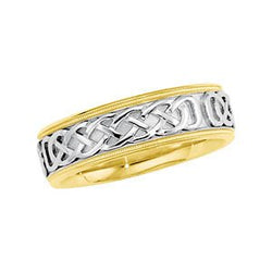 7mm 14k Yellow and White Gold Raised Celtic Designer Band, Size 11.5