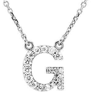 "14k White Gold Diamond Alphabet Letter G Necklace (1/6 Cttw, GH Color, l1 Clarity), 16.25"" to 18.50"""