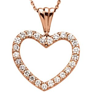 "Diamond Heart 14k Rose Gold Pendant Necklace, 18"" (1/4 Cttw)"