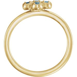 Aquamarine Quatrefoil Ring, 14k Yellow Gold, Size 6.5