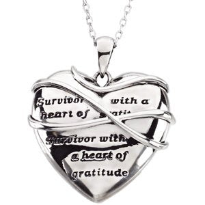 Sterling Silver Survivor with a Heart of Gratitude Necklace 18""