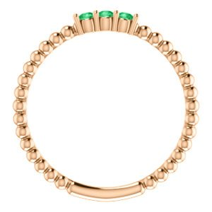 Emerald Beaded Ring, 14k Rose Gold, Size 7
