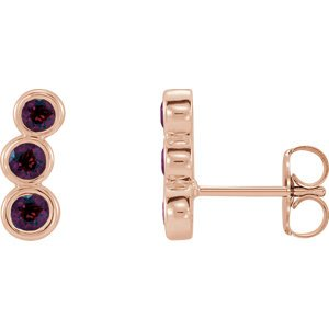 Mozambique Garnet Three-Stone Ear Climbers, 14k Rose Gold