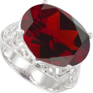 Sterling Silver Filigree Mozambique Garnet Ring, Size 10 (14.30 Cttw)
