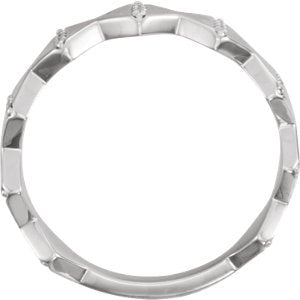 Platinum Diamond Geometrical Design 6.5mm Ring (.1 Ctw, GH Color, SI2-SI3 Clarity) Size 7