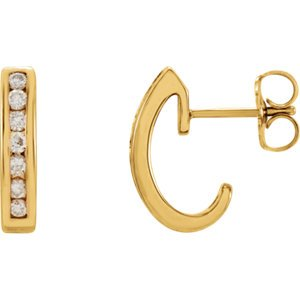 Diamond J-Hoop Earrings, 14k Yellow Gold (1/3 Ctw, Color G-H, Clarity I1)