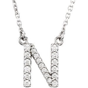 "14k White Gold Diamond Alphabet Letter N Necklace (1/6 Cttw, GH Color, l1 Clarity), 16.25"" to 18.50"""