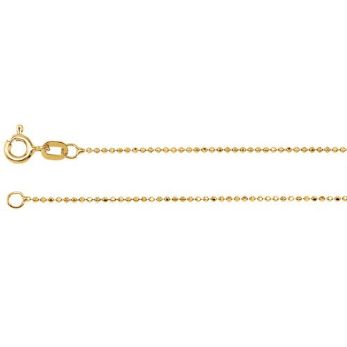 1mm 14k Yellow Gold Solid Diamond Cut Bead Chain Bracelet, 7""