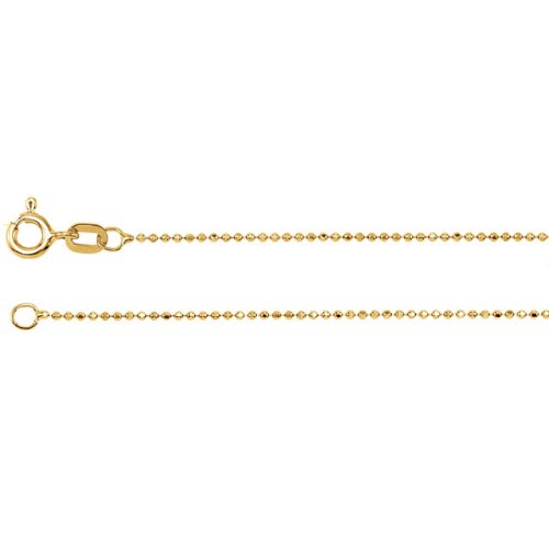 1mm 14k Yellow Gold Solid Diamond Cut Bead Chain, 16""