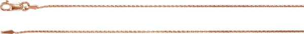 .9 mm 14k Rose Gold Wheat Chain, 16 ""