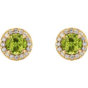 Peridot and Diamond Halo-Style Earrings, 14k Yellow Gold (5 MM) (.16 Ctw, G-H Color, I1 Clarity)