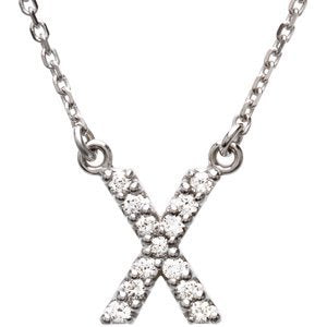 "14k White Gold Diamond Alphabet Letter X Necklace (1/8 Cttw, GH Color, I1 Clarity), 16.25"" to 18.50"""
