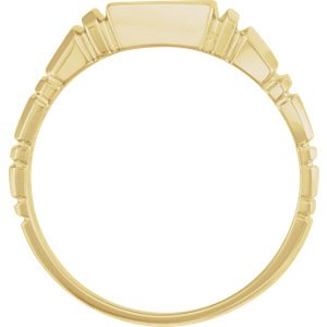 Men's Open Back Square Signet Ring, 10k Yellow Gold (11mm) Size 9.75