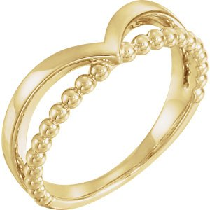 Negative Space Beaded 'V' Ring, 14k Yellow Gold