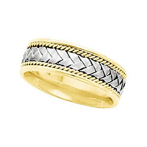 6.75mm 14k White and Yellow Gold Comfort Fit Hand Woven and Rope Trim Band, Size 5.5
