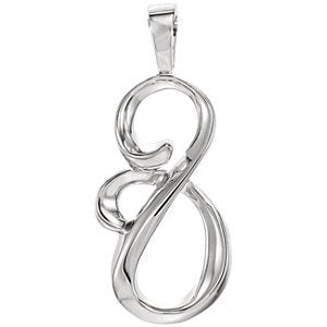 Curving Silhouette Pendant, Rhodium-Plated 14k White Gold