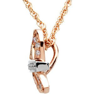 "Diamond Breast Cancer Ribbon 'Me and My Two Friends'' 14k Rose Gold and White Gold Pendant Necklace, 18"" (.20 Ctw, GH, SI2-SI3)"