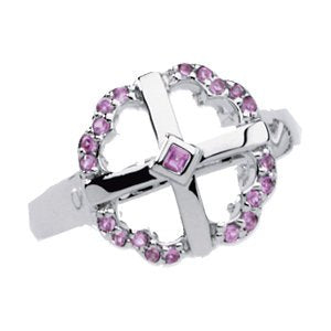 Created Pink Sapphire 'Embraced by Love' Cross Ring, Size 6 to 7