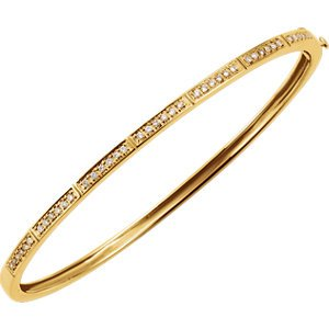 "Petite Diamond Bangle Bracelet, 14k Yellow Gold, 7"" (.33 Cttw, HI Color, I1 Clarity)"