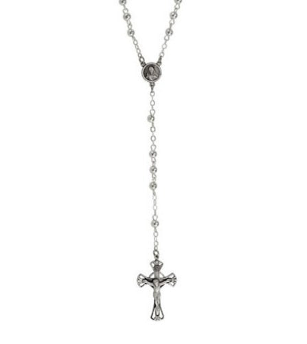 Antiqued Crucifix Rosary Bead Necklace, Sterling Silver, 29.5""